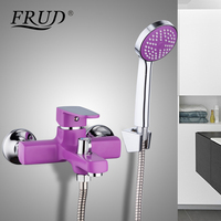 FRUD New 1 Set Wall Mounted Purple Outlet Pipe Bath Shower Faucet Zinc Alloy Body Surface