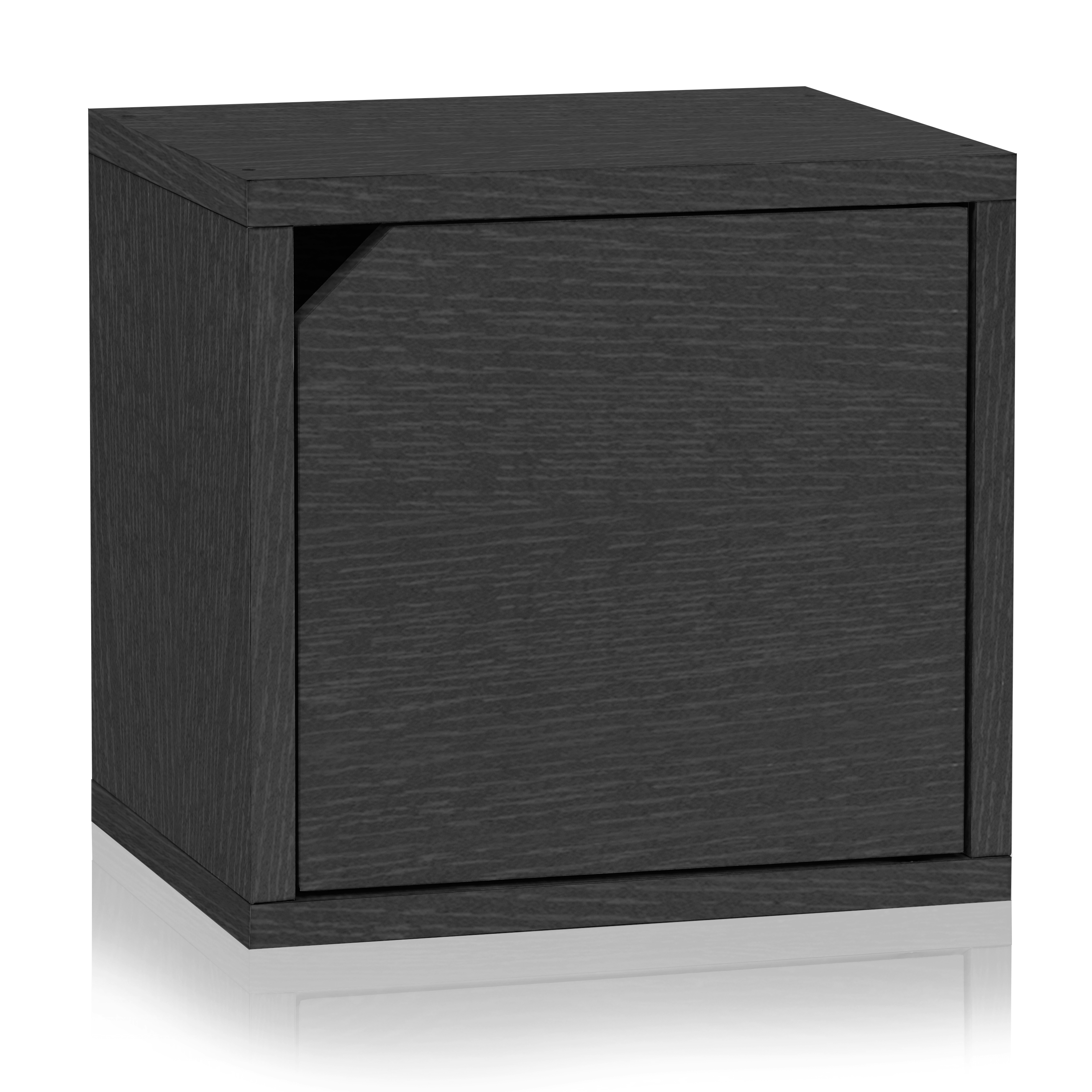 Eco Stackable Connect Storage Cube with Door, Black Wood Grain - Tool Free Assembly - LIFETIME WARRANTY
