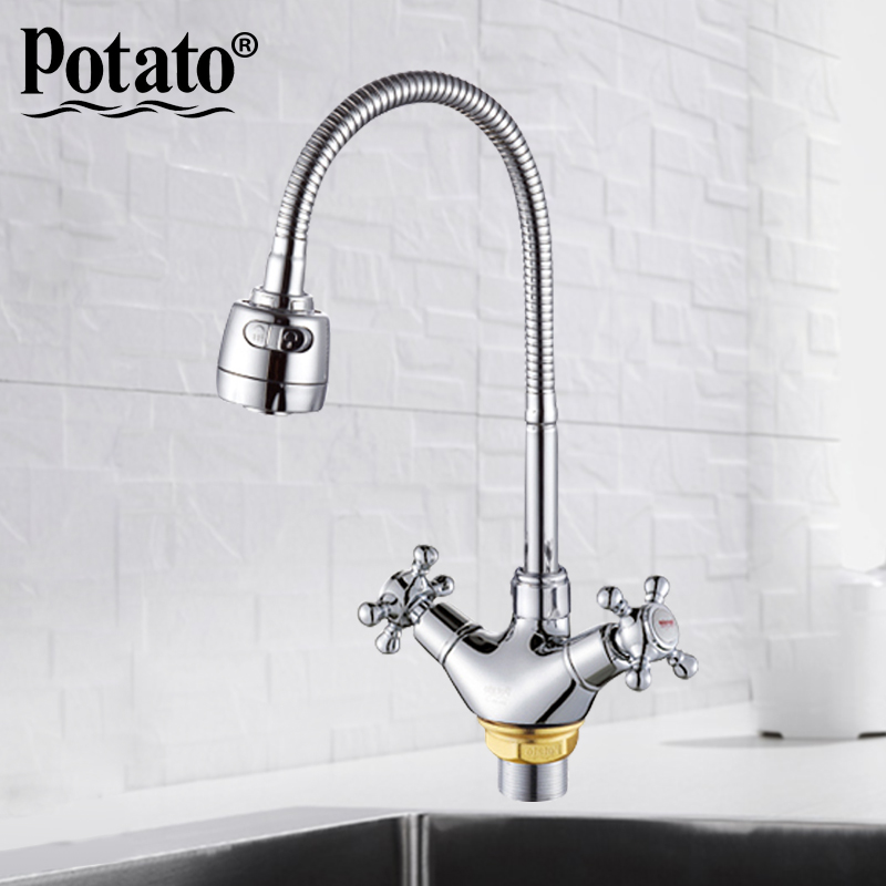 potato chrome Double handle Kitchen sink faucet Mixer Cold and Hot Kitchen Tap mixer Single Hole Water Tap P5860potato chrome Double handle Kitchen sink faucet Mixer Cold and Hot Kitchen Tap mixer Single Hole Water Tap P5860