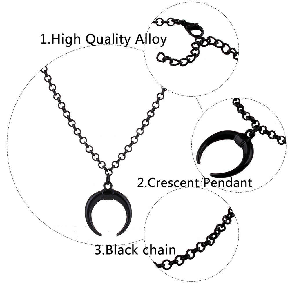 Bls-cud najnowszy Punk moda biżuteria naszyjniki czarny księżyc łańcuch wisiorek długi naszyjnik dla kobiety Party biżuteria N347