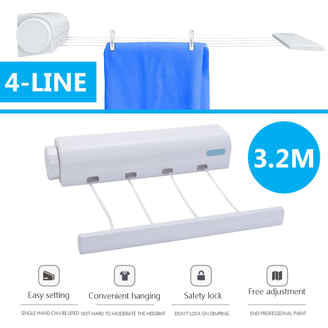 3.2m 4 Lines Clothesline Rope ABS Auto Roll Up Washing Indoor Space Saving Retractable  Clothesline