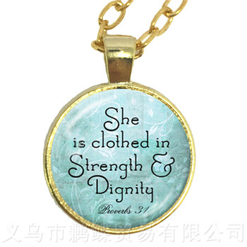 She is Clothed in Strength and Dignity Round Glass Cabochon Necklace Best Gift For Best Friends Sweater chain image