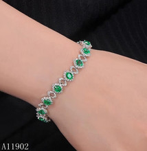 KJJEAXCMY fine jewelry 925 sterling silver inlaid natural gemstone emerald ladies bracelet support inspection