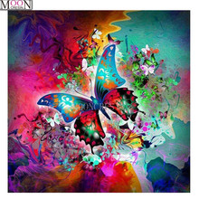 MOONCRESIN DIY Diamond Embroidery Color Butterfly Flower Diamond Painting Cross Stitch Full Square Drill Rhinestone Mosaic Decor mooncresin diy diamond embroidery beauty flower lady painting cross stitch full square drill rhinestone mosaic decoration ar t
