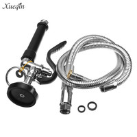Xueqin Black Commercial Kitchen Pull out Pre Rinse Faucet Tap Spray Head Sprayer With Stainless Steel Flexible Hose