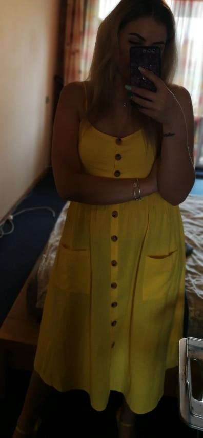 Elegant Button Women Dress Pocket Polka Dots Yellow Cotton Midi Dress Summer Casual Female Plus Size Lady Beach Vestidos photo review