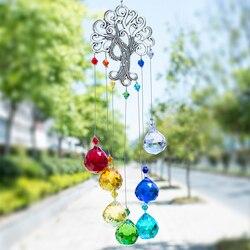 H & D kristal Suncatcher çakra renkler topları prizma hayat ağacı pencere asılı kolye gökkuşağı güneş Catcher noel ev dekor