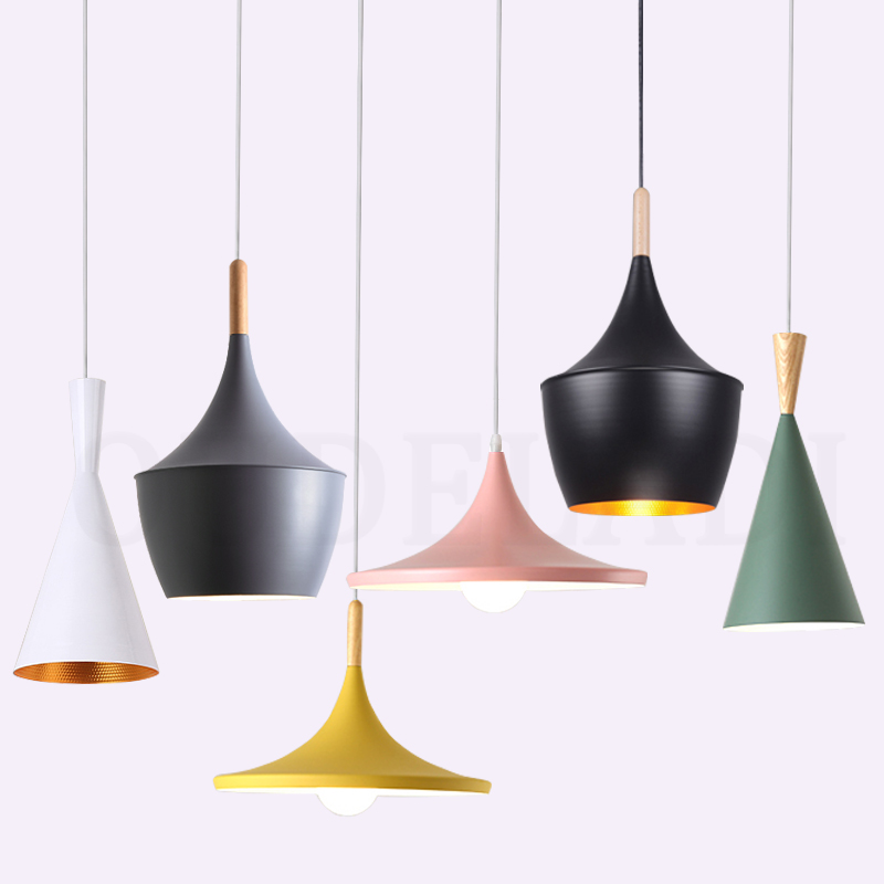 Modern Nordic Wood Aluminum Lampshade Pendant Lights Colorful Creative Dining Room Living Room Bar Illumination Lamps