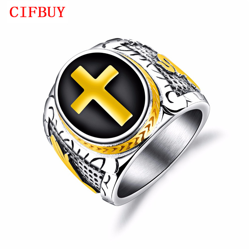 CIFBUY Punk Cross Biker Ring For Men With Stainles Steel Black & Gold Color Male Stamp Finger Band Christmas Jewelry Gift GJ603