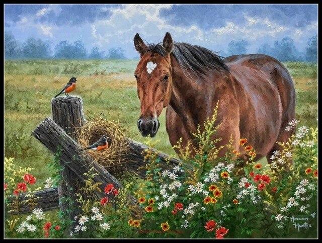 Pferd Vogel Gezählt Kreuz Stich Kits DIY Handmade Hand Für Stickerei 14 ct Kreuz Stich Sets DMC Farbe