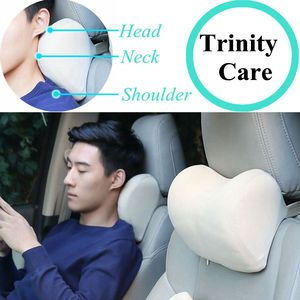 Image 1 - 1 個車のヘッドレスト首枕のための座椅子自動低反発綿メッシュクッション生地カバーソフトヘッドレストトラベルサポート