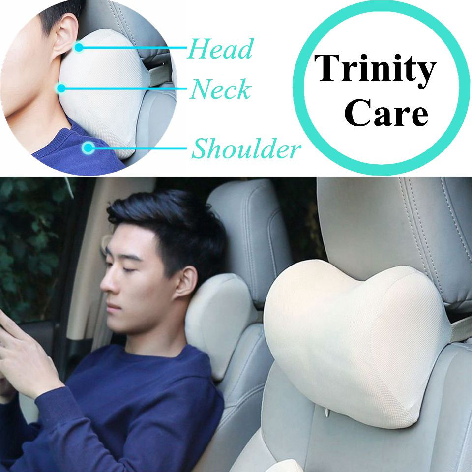 1PCS Car Headrest Neck Pillow for seat chair in auto Memory Foam cushion Fabric Cover soft Head rest travel support