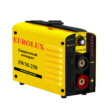 Аппарат сварочный инверторный Eurolux IWM250 (Сварочный ток 10-250 А, продолжительность включения 70%250A, напряжение дуги 30 В, диапазон рабочего напряжения 160-260)