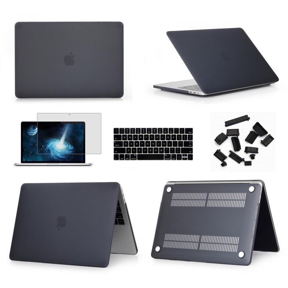 "Schwarz Gummierte Harte Fall Abdeckung Haut Set tastatur abdeckung Für Apple Macbook Pro Air Retina 11 12 13 15 ""zoll Touch Bar A2159 A1989"