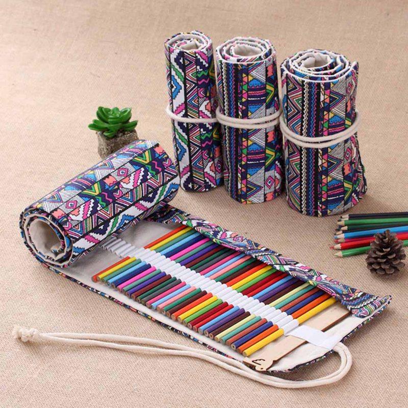 все цены на National Canvas School Pencil Case 36/48/72 Holes Roll Up Pencil Bag Portable Pencil Box School Supplies Escolar Papelaria