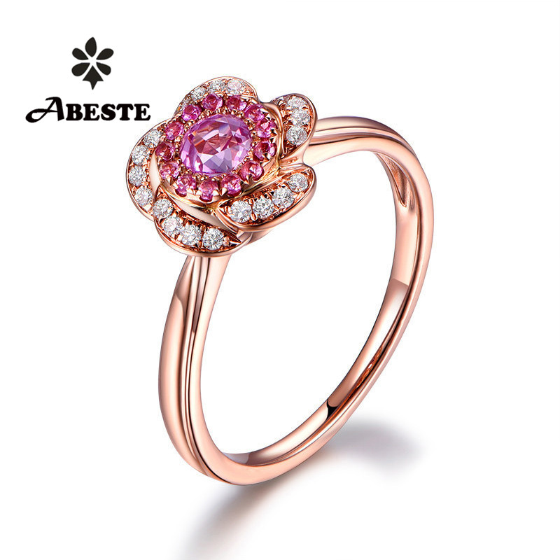 ANI 18K Rose Gold (AU750) Women Wedding Diamond Ring Certified Round Natural Pink Sapphire Flower Shape Engagement Gemstone Ring noble simple style round flower shape cuff ring for women
