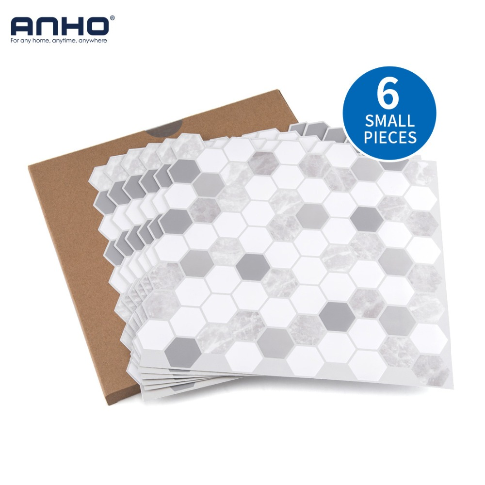 6Pcs DIY Home Decoration Wall Sticker Removable Self Adhesive Wall Tiles Kitchen Living Room Background Hexagon Shape