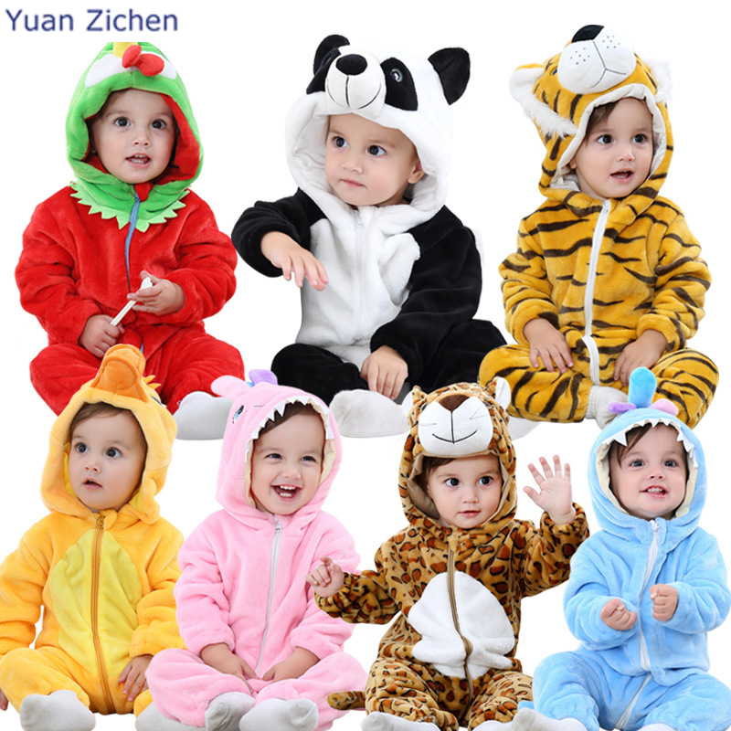 2017 Autumn Winter Flannel Baby Boy Clothes Cartoon Animal Jumpsuit Long Sleeve Romper Hooded Infant Toddler
