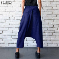 ZANZEA 2017 Autumn Women Fashion Zipper Baggy Elastic Drop Crotch Denim Blue Mid Waist Cross Pants