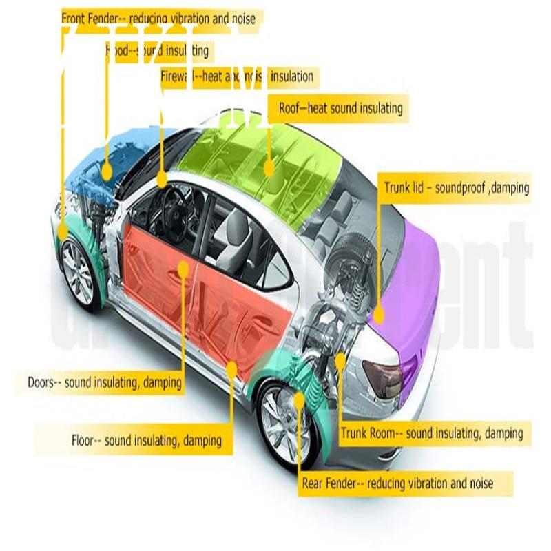 Voiture SUV plancher pare-feu capot capot insonorisant-5 MM bruit de route isolation acoustique + 2 MM amortissement feuille d'étanchéité adhésif auto