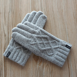 High Quality Plus Thick Male Gloves Men 100% Wool Winter Warm Exposed Finger Mittens Knitted Warm Male Double thick Wool Gloves