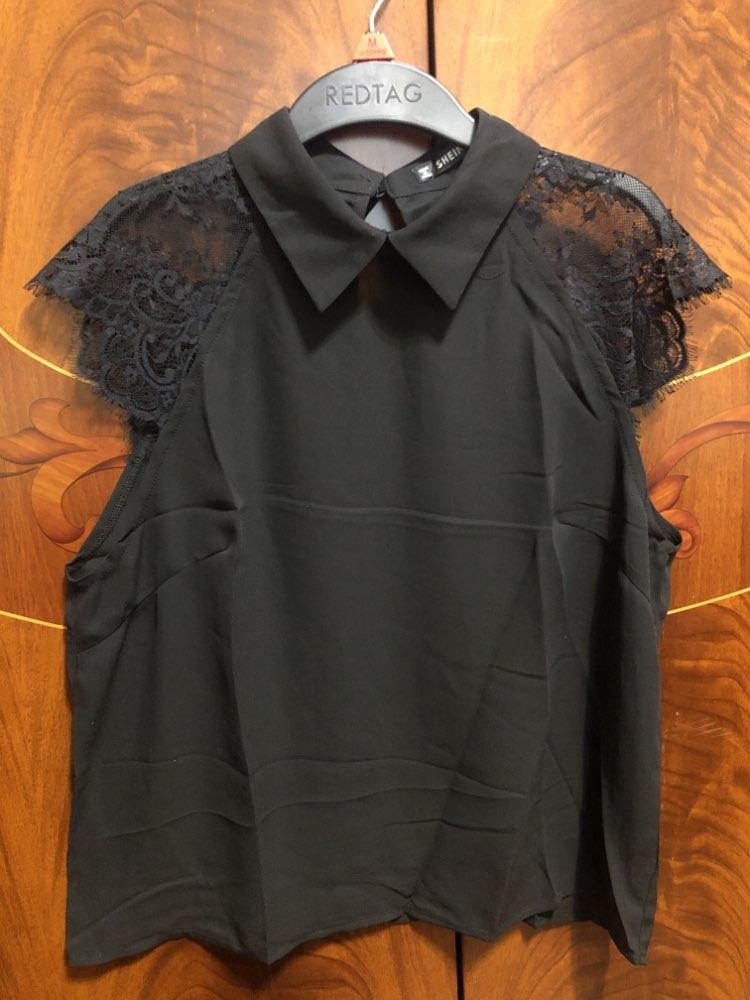 Floral Lace Cap Sleeve Blouse Black Peter Pan Collar Button Women Elegant Top Summer Short Sleeve Plain Workwear Blouse photo review