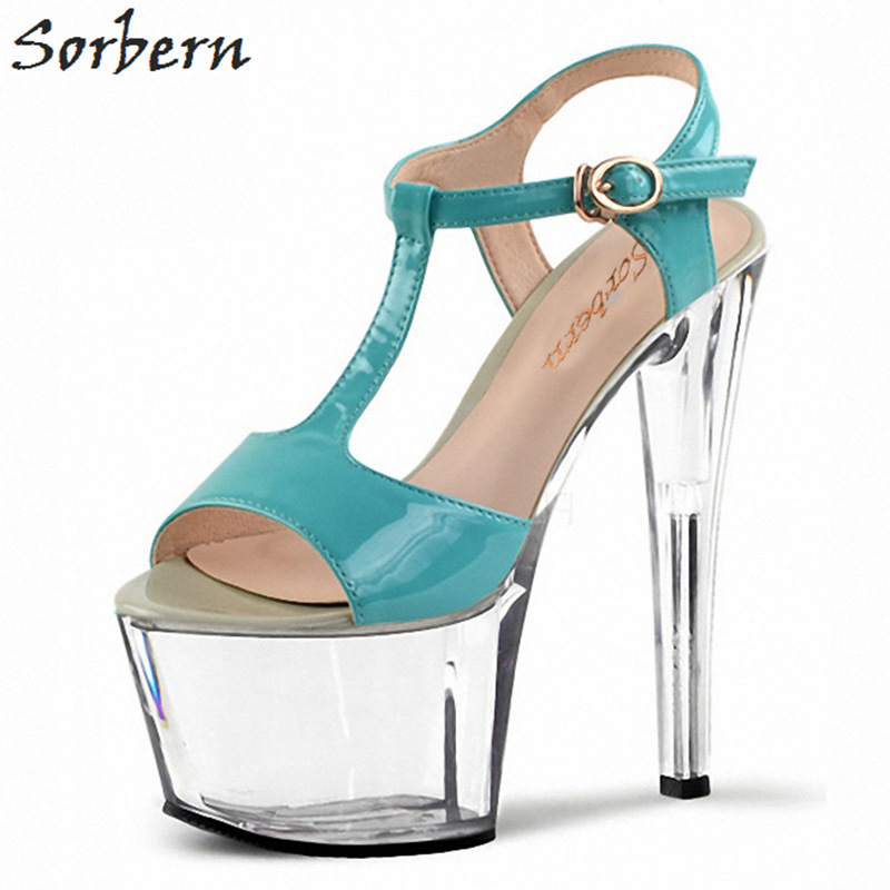 Sorbern 17Cm Blue T-Strap Women Sandals High Heel Platform Shoes Ladies Clear Heels Open Toe Party Sandals For Women Heeled vintage women s sandals with t strap and platform design