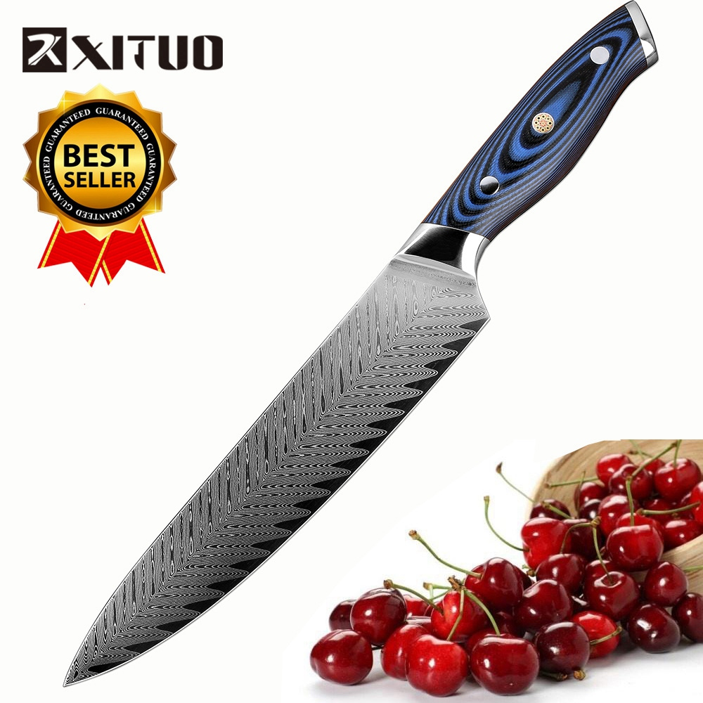 """XITUO New Design Chef Knife 8"""" inch AUS10 Damascus Stainless Steel Professional Kitchen Knife Japan Salmon Meat Slicing Knife AA-in Kitchen Knives from Home & Garden    1"""