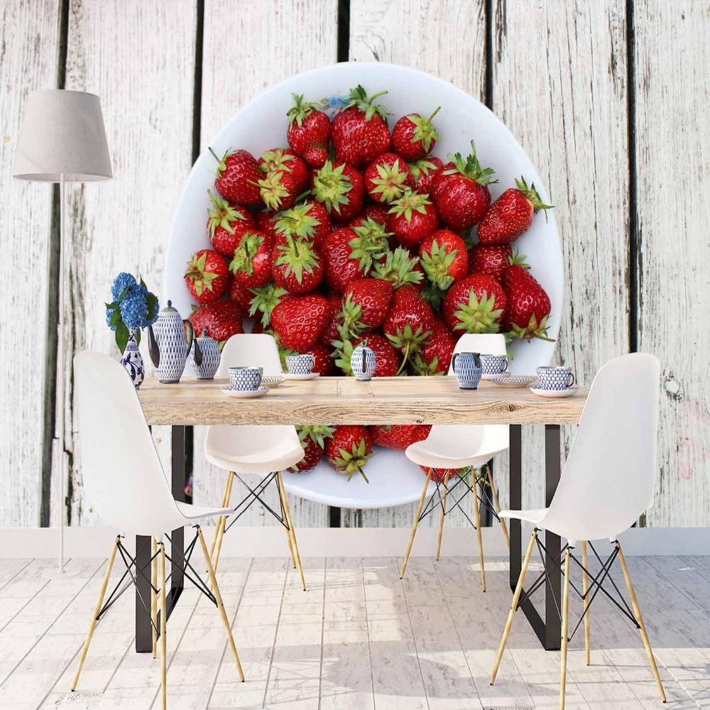 Else Gray White Aging Wood Red Strawberry On Plate 3d Print Photo Cleanable Fabric Mural Home Decor Kitchen Background Wallpaper