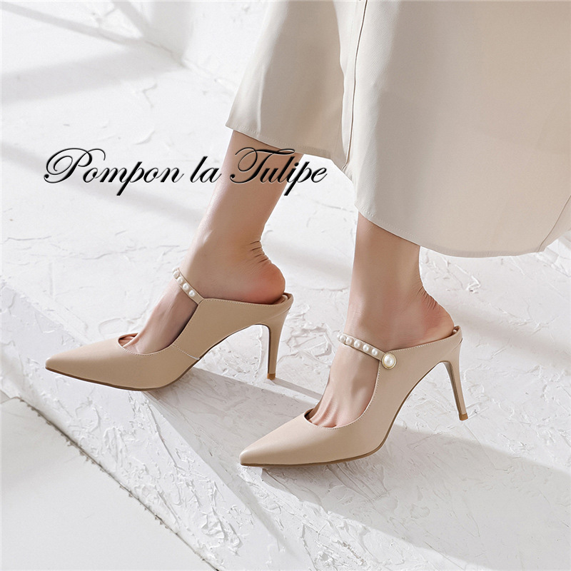 BHS 901134 Chic Pearl 9CM High Heels Stilettos Mules Genuine Leather Stylish Sandals Sheepskin Fashion Women Shoes Party Wedding in Women 39 s Pumps from Shoes