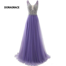 Glamorous V Neck Backless A Line Floor-Length Tulle Crystal Pearls Prom Dress Evening Dresses DGE020