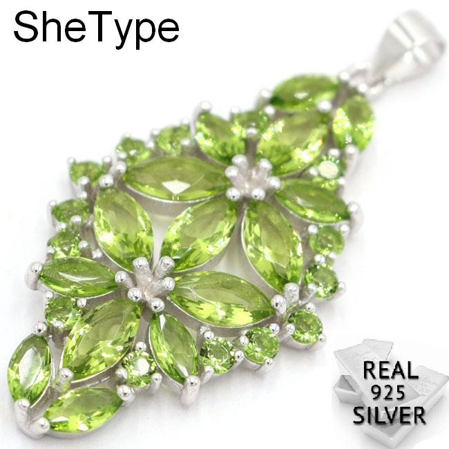 5.6g Deluxe Top AAA+ Green Peridot Aquamarine Ladies Wedding 925 Solid Sterling Silver Pendant 46x23mm