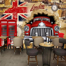 3D personality car broken wall TV decorative professional production mural wholesale wallpaper poster photo