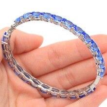 2017 Gorgeous Rich Blue Violet Tanzanits, CZ SheCrown Womans Wedding Silver Bangle Bracelet 7.5 inch 13x12mm