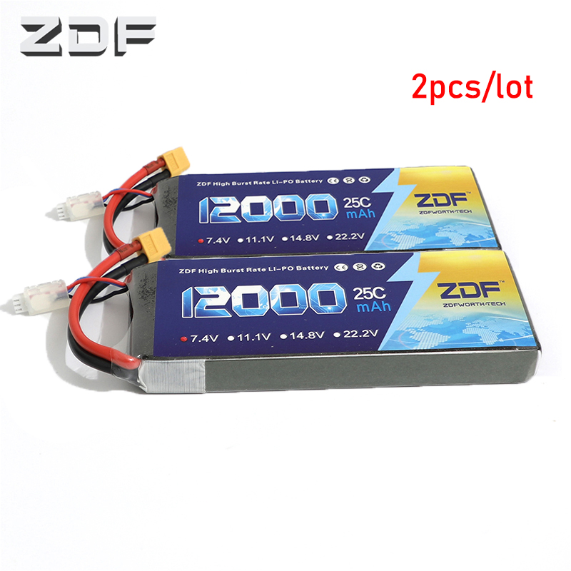 ZDF 2pcs/lot RC Lipo Battery 7.4V 12000mah 25C 50C 2S AKKU Bateria For Quadcopter Helicopter Airplane Boat image
