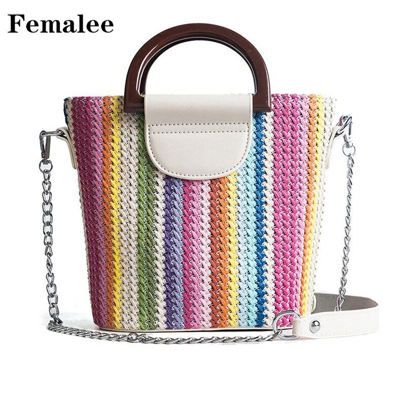 FEMALEE Γυναικεία τσάντα ώμου Πλεκτά αλυσίδες Δερμάτινη τσάντα κουβά ... 6d2a625b453
