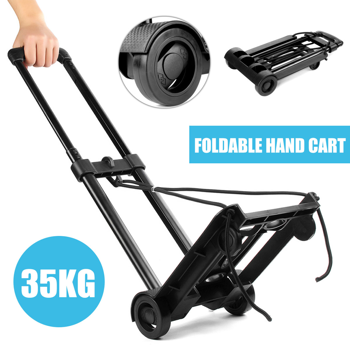 35KG Adjustable Hand Luguagge Trolley Cart With Wheel Folding Handcart Metal Warehouse Sack Height Home Shopping Travel Truck
