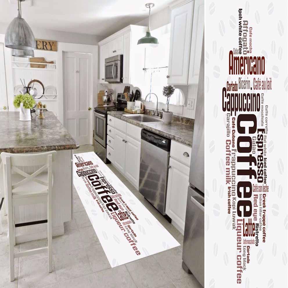 Autre blanc brun noir Americano café écrire impression 3d antidérapant microfibre lavable Long coureur tapis cuisine tapis couloir tapis