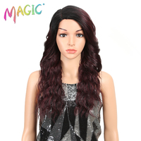 MAGIC red Blonde Loose Wave Wig Middle Part Synthetic Lace Front Wig For Black Women Medium Length Heat Resistant Fiber Hair