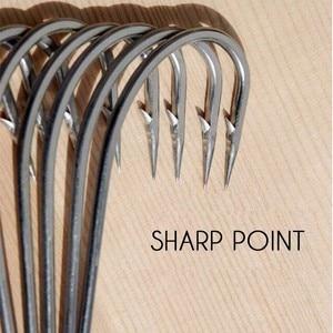 Image 1 - Acier inoxydable barbelé #1 ~ #10 hameçon en acier à haute teneur en carbone épaissi Angler hareng esturgeon crochets 5 pièces/lot