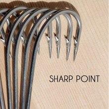 Anzuelo de acero inoxidable con púas #1 ~ #10, anzuelo de acero alto en carbono, Angler grueso de anzuelo, ganchos de Sturgeon, 5 unids/lote