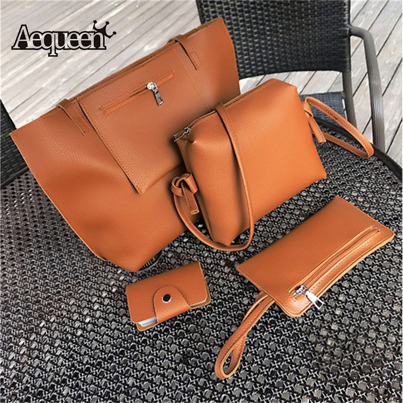 AEQUEEN 4PCS/Set Women Handbag PU Leather Shoulder Crossbody Bags Lady Composite Bag Womens Messenger Bolsa Casual Totes Large weave genuine leather womens handbag hot handmade fashion black shoulder bag messenger crossbody bags large casual totes