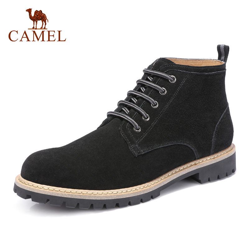 CAMEL automne hiver hommes bottes mode outillage chaussures en cuir véritable rétro daim Martin plein air bottes décontractées hommes