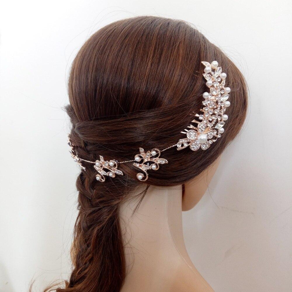 Rose Gold Rhinestone Crystal Flower Wedding Headband