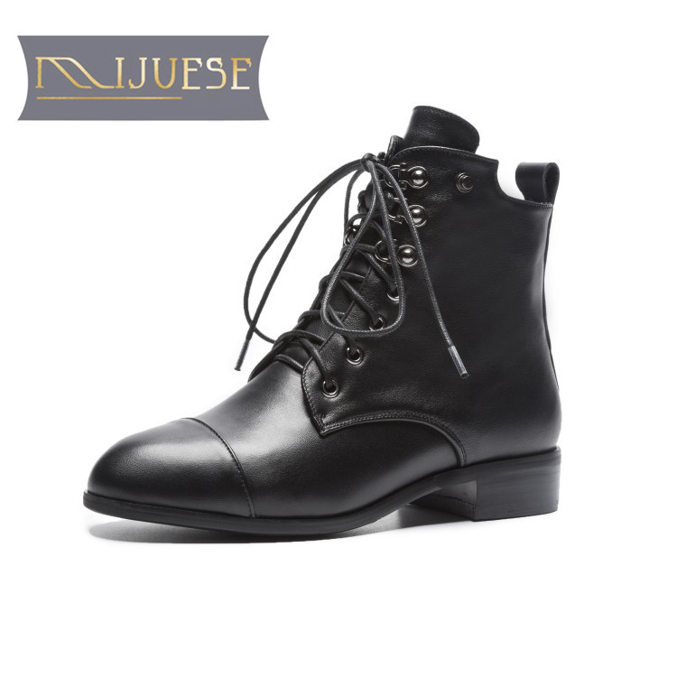 MLJUESE 2019 women ankle boots cow leather lace up rivets winter warm female boots low heel women martin boots big size 34-42