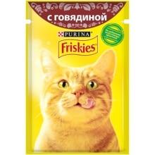 Набор влажный корм для кошек Friskies с говядиной в подливе , Пауч, 85 г x 24 шт.