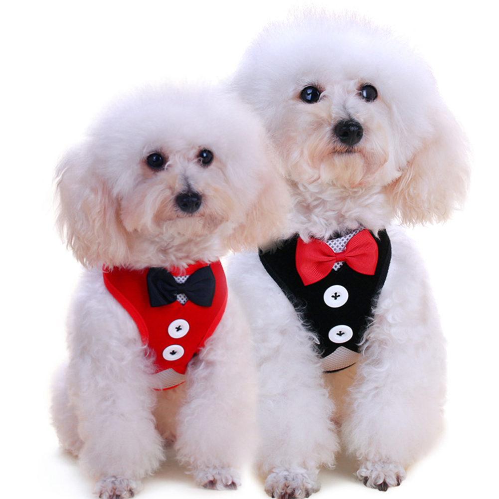 TINGHAO Fashion Bowtie Gentleman Suit Tuxedo Harness Vest with Leash for Pet Dog Puppy