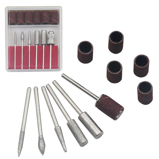 1set 6bits Power Drill Professional Electric Manicure Machine Nail Drill Pen Pedicure File Polish Shape Tool Nail Art Feet Care