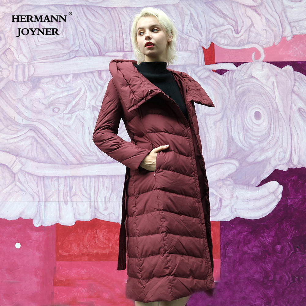 Hermann Joyner 2018 Winter Fashion Women Down Coat 95%Cashmere Adjusted Waist Solid Warm Soft Long Lady Down Jacket High Quality