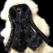 Lady Fashion Faux Fur Collar Coat Slim Fit Winter Warm Jacket Outerwear Overcoat